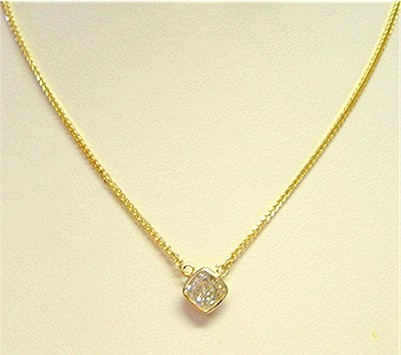 13049 - Cushion cut CZ necklace (NK1705-YG)