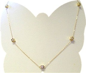 13040 - Cubic Zirconia Cube Necklace (NK3031-YG)