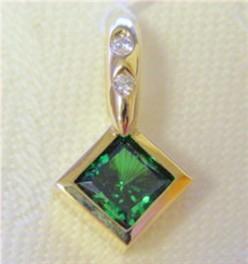 12166 - Created Emerald CZ Pendant (P1006SQ-E-TT)